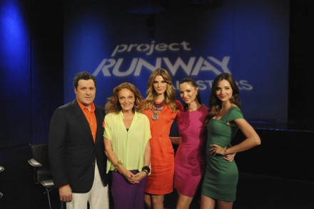 Mizrahi, Lindvall, and Chapman with guest judges Diane von Furstenburg and Miranda Kerr